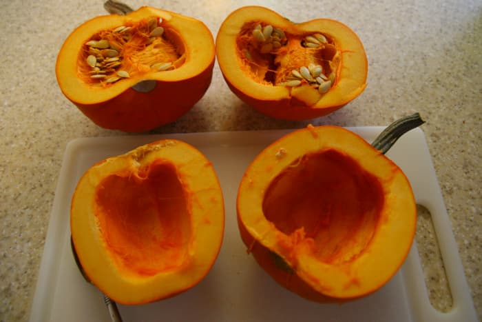 Remove the seeds from the pumpkin.