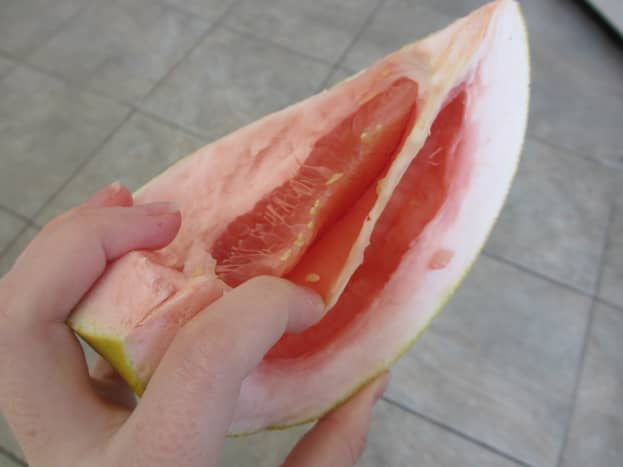 The membrane between pomelo segments is very thick and bitter and should not be eaten.