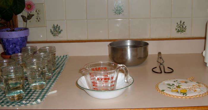 Step one: This is the set up for putting the jelly into jars.