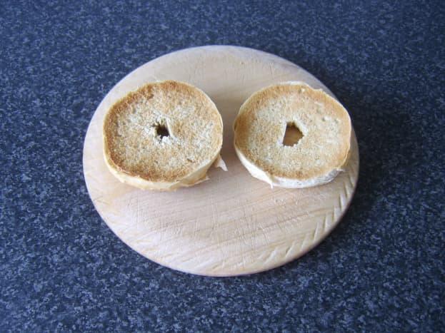 Lightly toasted bagel halves