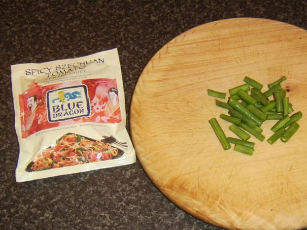 Spicy szechuan tomato sauce and chopped green beans