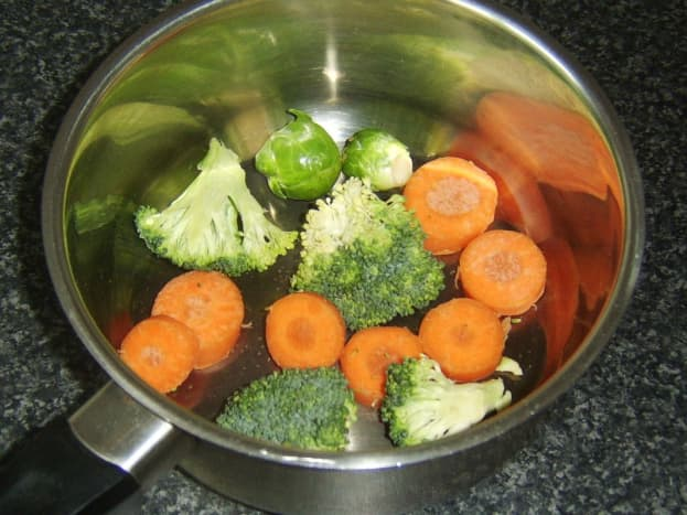 Assorted vegetables ready to be boiled