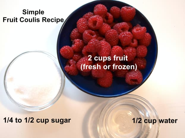 Raspberries, sugar and water, the ingredients you'll need for a raspberry sauce.