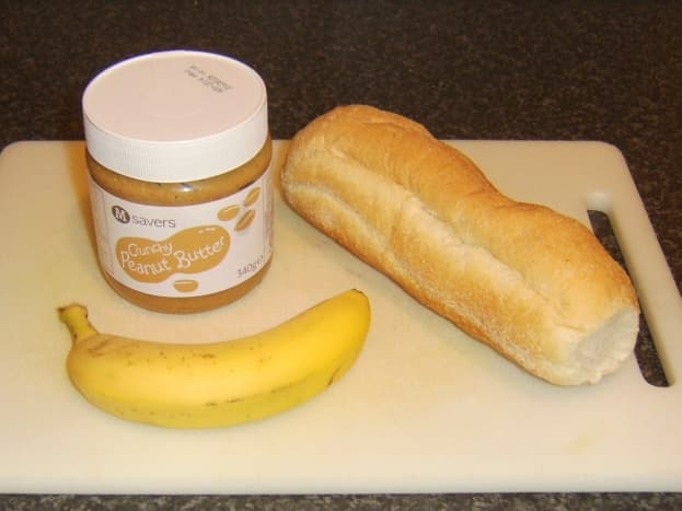 Crunch peanut butter, banana and sub roll