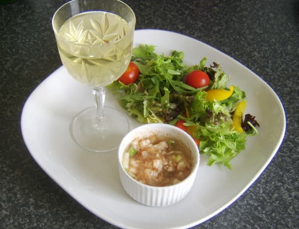 Jellied conger eel with green chilli and smoked paprika served with white wine and simple salad