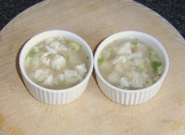 Jellied conger eel with onion and parsley
