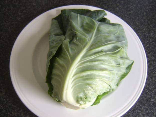 A whole sweetheart or pointed cabbage.