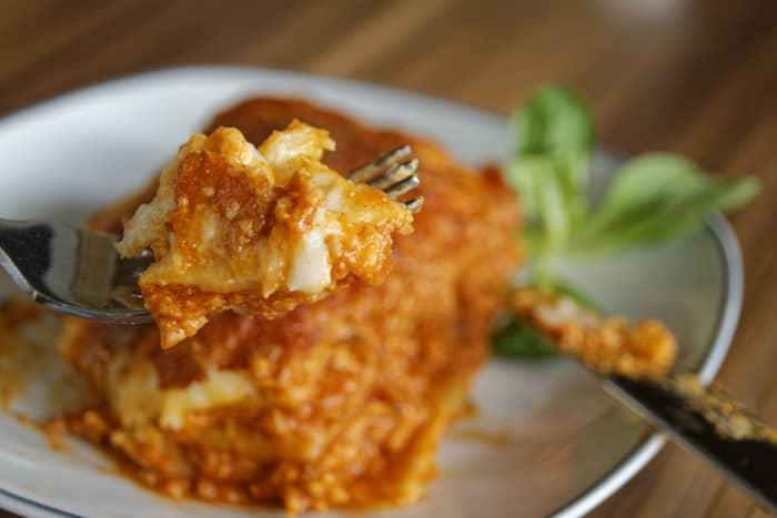 Butternut squash lasagne with garlic and Gorgonzola
