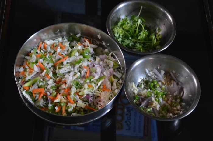 Step one: Chop the vegetables and keep all the other ingredients ready.