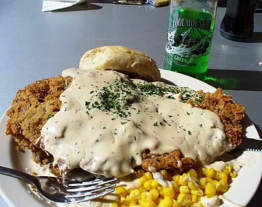 Fried chicken smothered in thick gravy--butter and flour are the start of something wonderful.