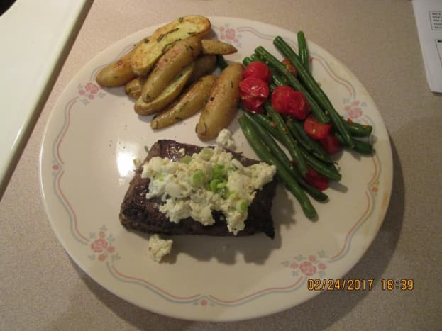 Sirloin Steak with Blue Cheese Compound Butter