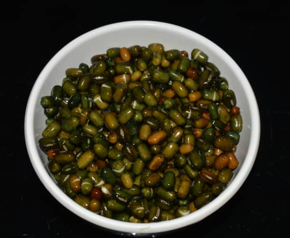 Step one: Wash and soak whole black lentil in water for 6-8 hours(image showing soaked lentils)