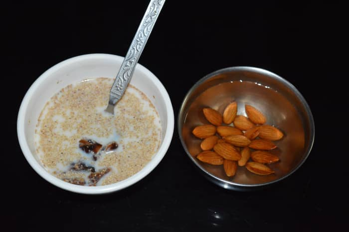 Step one: Soak almonds in warm water overnight. Soak roughly chopped dates and poppy seeds together in milk and refrigerate for whole night.