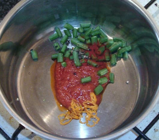 Tomato sauce, beans and spices