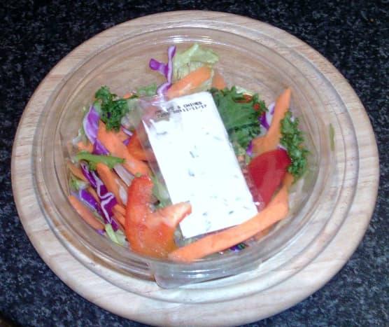 Supermarket salad and dressing