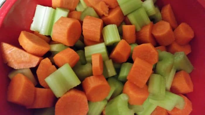 Chop vegetables in eatable portions - not too small but not too big