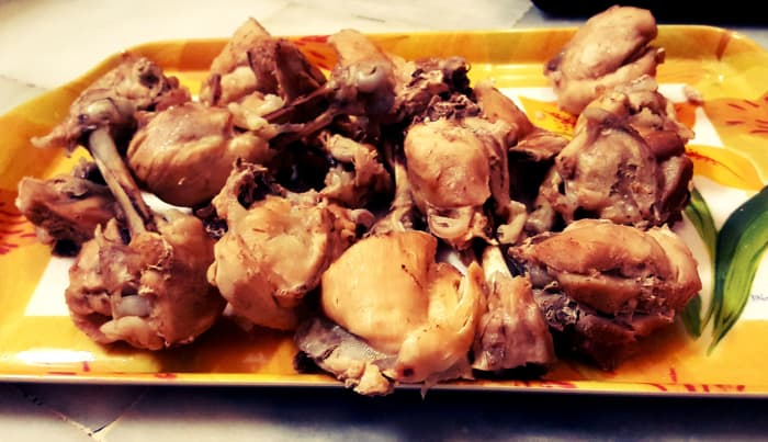 The boiled chicken( Instruction number 1 )