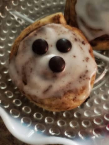 Delicious ghostly cinnamon roll