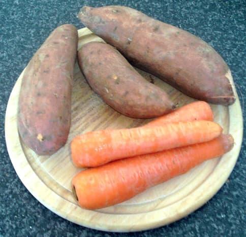 Medium sized sweet potatoes and carrots