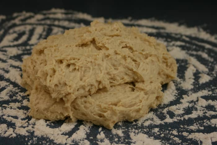 (Step 1) The bread dough before it has been kneaded.