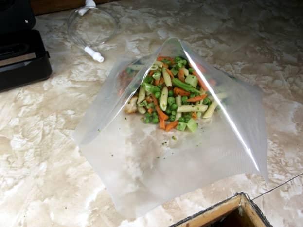 Unsealed bag of food.