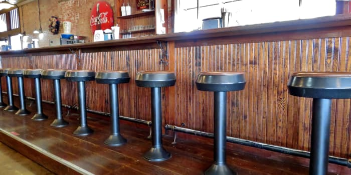 Bar stools and lunch counter