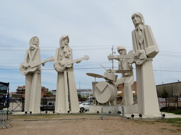 Beatles sculptures by David Adickes on the grounds of 8th Wonder Brewery