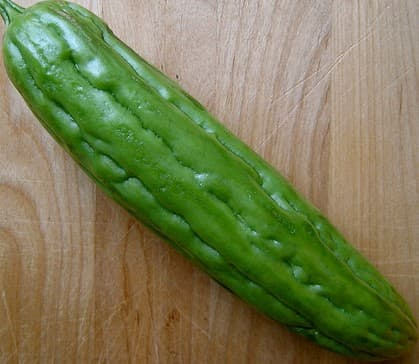 This is what ampalaya looks like. It's also called bitter melon or bitter gourd.