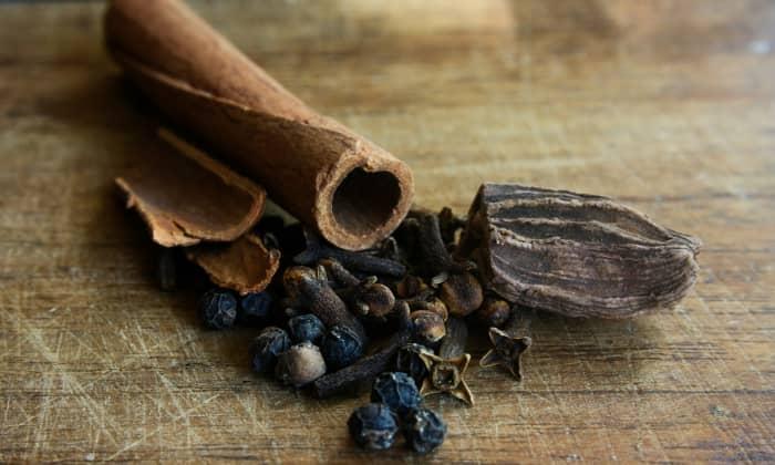 Whole spices (cinnamon, cardamom, nutmeg, black peppercorns, cloves)