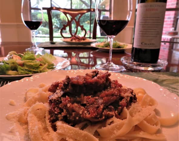 This time we are eating the eggplant prosciutto sauce with fettuccine.