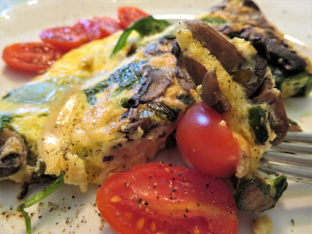 The result: a yummy bite of a tomato and the frittata