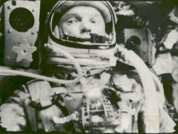 Onboard camera photographs John Glenn while in orbit. Photo courtesy of NASA.