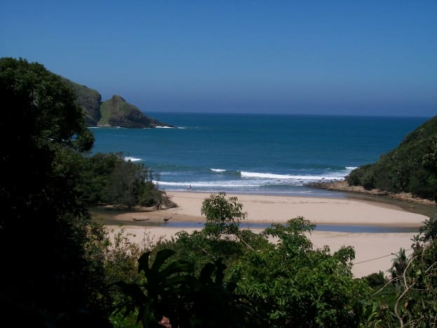 Second Beach, Port St Johns; the southern section of the beach and the lagoon.