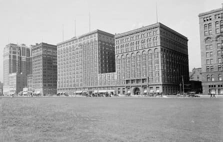 The Auditorium Annex prior to the creation of Congress Plaza, circa 1915.