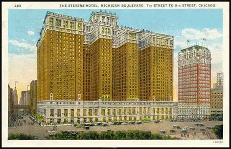 1920s post card of the Stevens Hotel, the World's Largest Hotel.