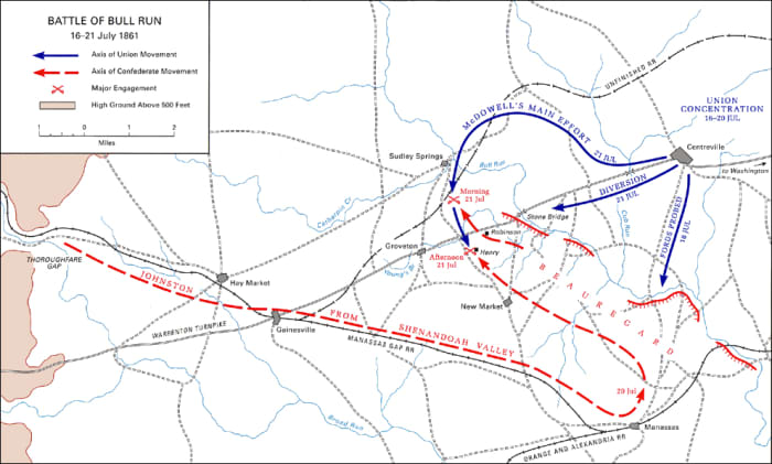 Movement Map of The First Battle of Bull Run.