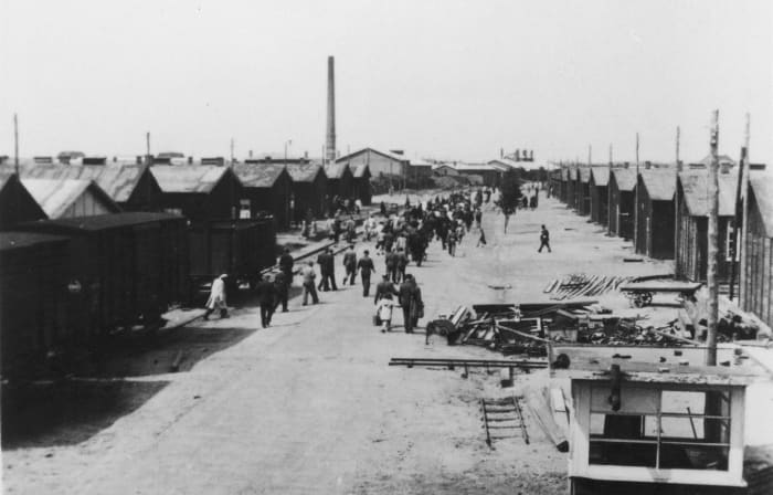 """The """"Boulevard of Miseries"""", in Westerbork Transit Camp."""