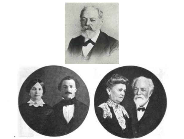 Louis Grunewald (top), Louis with his wife, Marie Louise (nee Schindler) around the time they were married (bottom left), and on their 50th wedding anniversary, celebrated at the hotel
