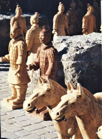 Terracotta horses  and soldiers