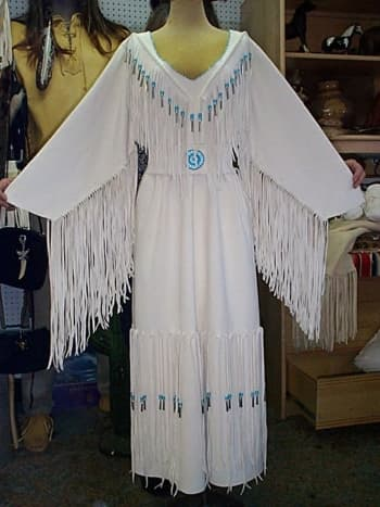 Wedding dress of the Six Nations and Cherokee style - white deer leather.