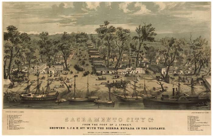 A map of Sacramento, circa 1849