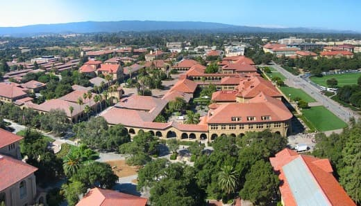 Stanford University campus from above
