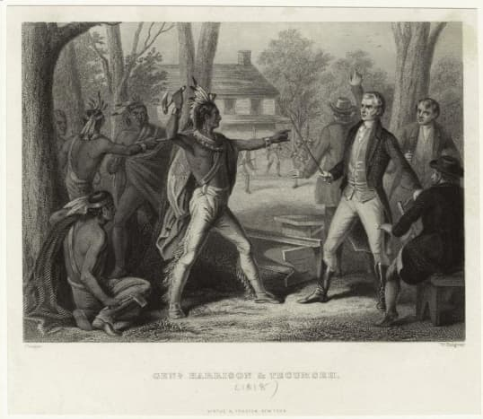 Tecumseh ordered his warriors to kill young William Henry Harrison who refuses to rescind the Treaty of Fort Wayne, who in response drew his sword.