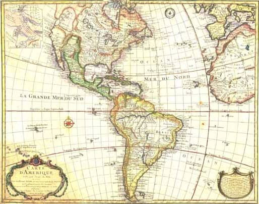 Early map of the Americas and Spanish colonies.