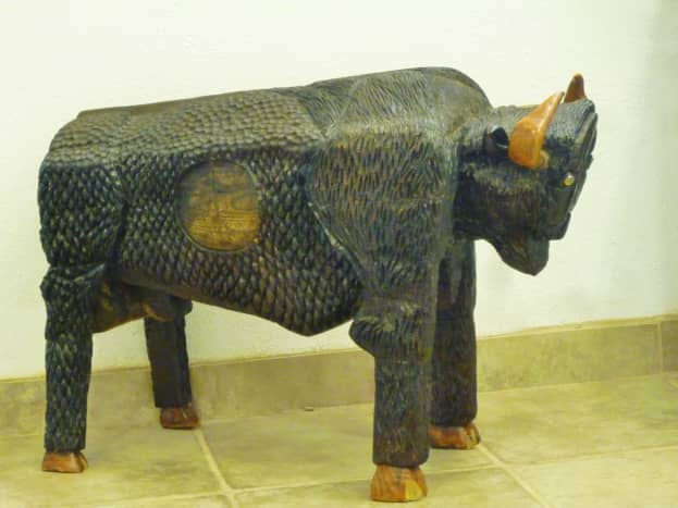 Carved buffalo sculpture