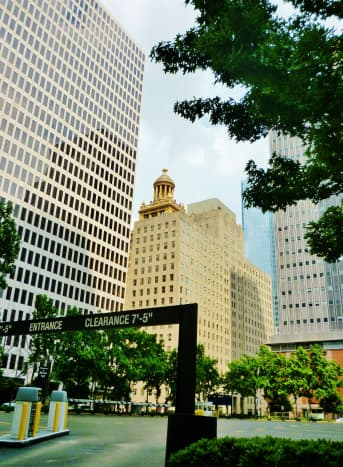 View of these buildings in downtown Houston