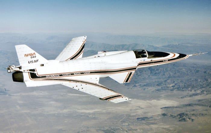 A Grumman X-29 in flight 1990