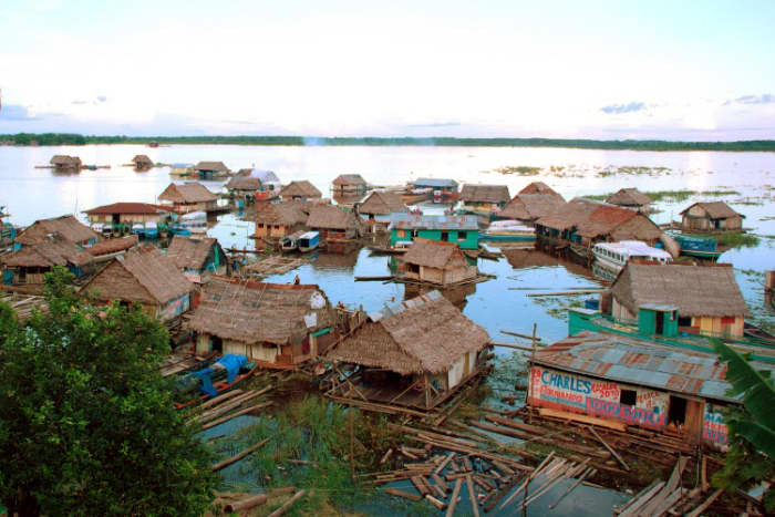 The floating city of Iquitos in the Peruvian Amazon, only accessible by water or air.