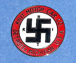 The Krit Motor Company of Detroit carried this emblem from 1909 to 1915. There is a body of opinion that the combination of colours on this emblem influenced the design of the Nazi flag
