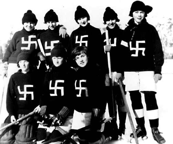 The 'Fernie Swastikas' played women's ice hockey in British Columbia from 1922 to 1926. They were one of several teams who used the swastika as their logo